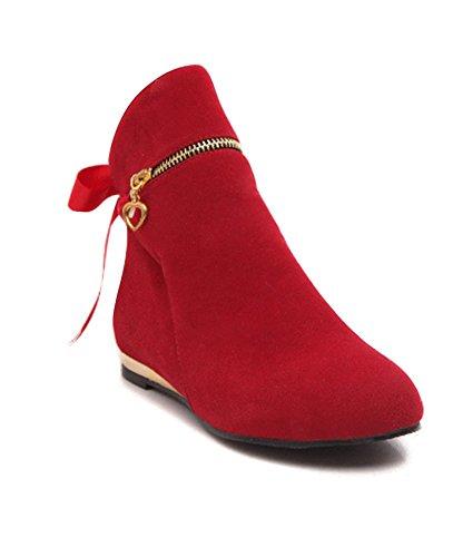 ShallGood Mujer Otoño Invierno Zapatos Botas de Tacón Plano Boots Botines con Cremallera Rojo EU 39