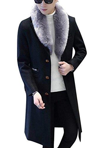 ARTFFEL-Men Warm Single Breasted Faux Fur Collar Long Outdoor Wool Pea Coat Overcoat Black M