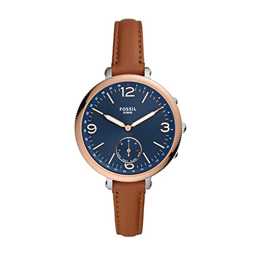 Fossil Women's Monroe Stainless steel and leather Hybrid Smartwatch, Color: Brown (Model: FTW5083)