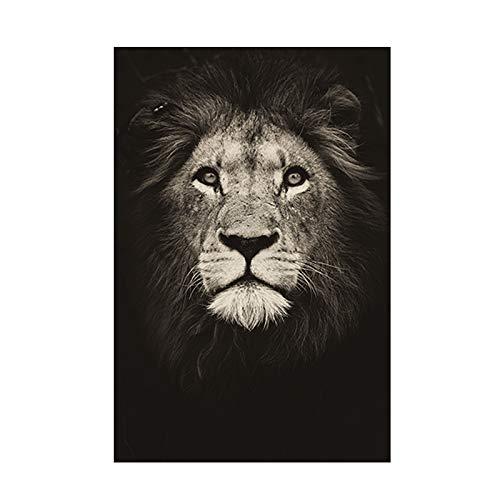 WENYOG Toile Image Peinture Lion Noir et Blanc Lion Animal Toile Peinture Affiches et Impressions Art Mural Animaux Sauvages Photos pour Salon Chambre à Coucher Décor Toile Murale Deco
