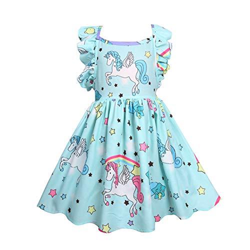 LOKKSI - Vestidos de unicornio para beb, vestidos de princesa, vestido de verano para nios y nias, vestido sin mangas
