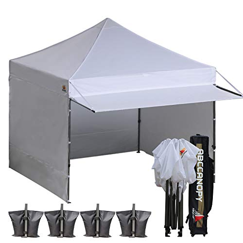 ABCCANOPY Ez Pop up Canopy Tent with Awning and Sidewalls 10x10 Market -Series, White