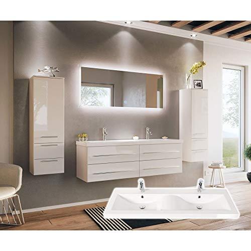 badmöbelset Juego de Muebles de baño de Gran tamaño, con Espacio de Lavado, en Forma de Onda, Color Blanco Brillante