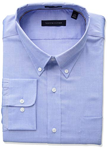 Tommy Hilfiger mens Non Iron Solid Button Down Collar Dress Shirt, Blue, 16.5 Neck 34 -35 Sleeve Large US