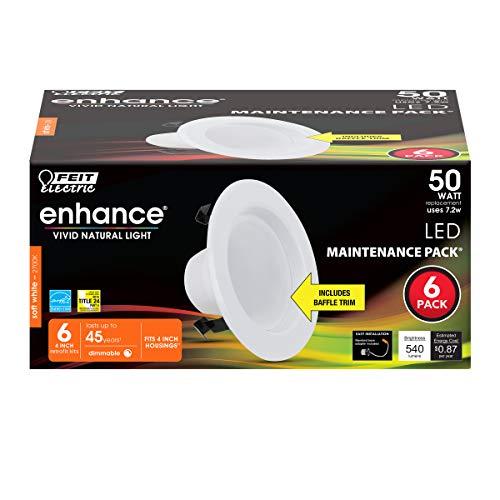 Feit Electric LEDR4B/927CA/MP/6 Enhance LED Recessed Light with Baffle Trim Retrofit kit, 4 Inch 50 Watt, white, 6 Piece
