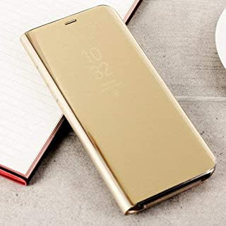 Trifty Mirror Stand Flip Cover for Samsung Galaxy S7 Edge (Gold)