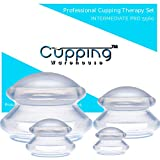 Cupping Warehouse Supreme 4 Intermediate PRO 5560 Softer (4 Sizes) Professional and Home Use: Clear Chinese Silicone Massage Cupping Therapy Sets Vacuum Suction Cups (IP5560 -4(s,m,l,XL))fbm)
