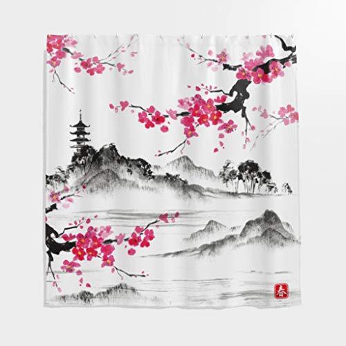 Rideau de douche imperméable en polyester style japonais avec crochets Blanc 180 x 200 cm