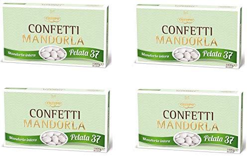 Crispo Confetti alla Mandorla Gran Lusso - Colore Bianco - 4 confezioni da 1 kg [4 kg]