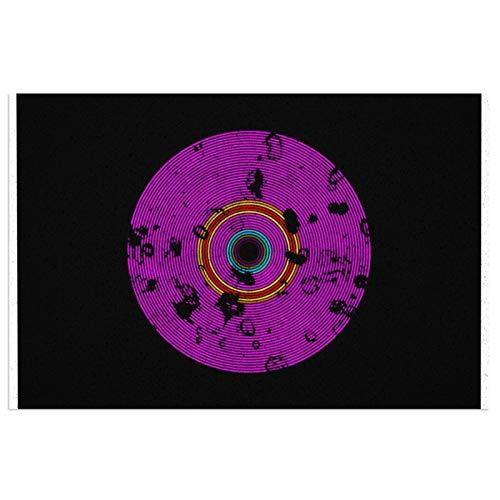 Felpudo de entrada con diseño de disco de vinilo, multicolor, antideslizante, impermeable, para interiores y exteriores, para decoración de casa de campo, porche, 39,7 x 59,9 cm