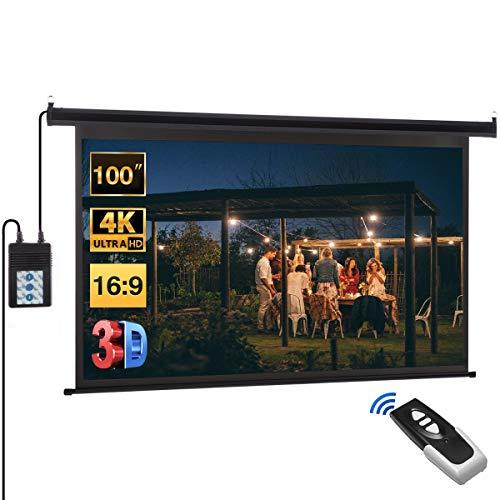petit un compact 221,4 x 124,5 cm, 100 pouces, projecteur électrique télécommandé HD…