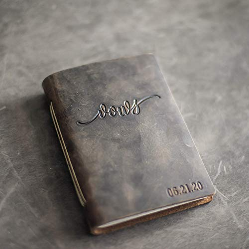 Personalized Leather Wedding Vow Book - Vows Stamp with Name and/or Date - Premium Leather