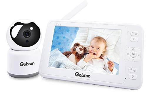 Babyphone mit Kamera 5 Zoll 1080P HD IPS Video Aufnahme Wiedergabe 360° Drehung 4 Erweiterbare Kameras,Gobran Videoüberwachung VOX Aktivierung,Walkie Talkie,Nachtsicht,Schlaflieder,Temperatursensor