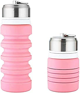 AINAAN Collapsible Water Bottle, Silicone Folding Kettle,Portable-for Outdoor/Camping/Hiking/Office-400 mL | 13.5 Oz, 2019, Pink