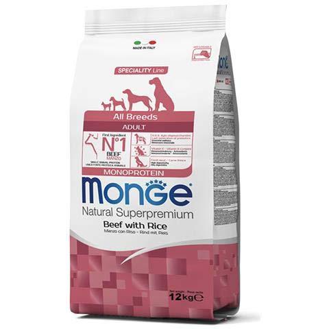 Monge All Breed Adult 12kg (Manzo Y Arroz Super Premium al Manzo)–Pienso para perros adultos, monoproteico, natural al 100%