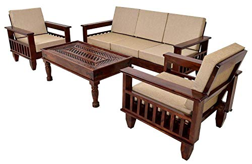MH DECOART Sheesham Wood 5 Seater Sofa Set 3+1+1 for Living Room (Walnut Dark Brown Dimension 3 Seater: L 72.5 Inch x W 29.5 Inch x H 22 Inch, 1 Seater: L 31 Inch x W 29.5 Inch x H 22 Inch)