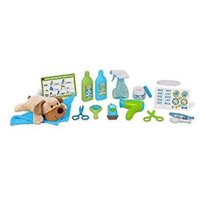 Melissa & Doug Wash & Trim Dog Groomer Play Set With Plush Stuffed Animal Dog (20 pcs)