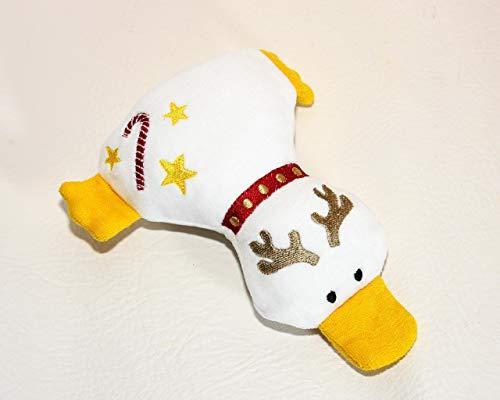 Kuscheltier Ente aus Bio Baumwoll Nicki weiß und Frottee gelb, Weihnachten, Rentier, handgemacht, Personalisierbar mit Namen, Rassel, Knisterfolie Weihnachtsgeschenk