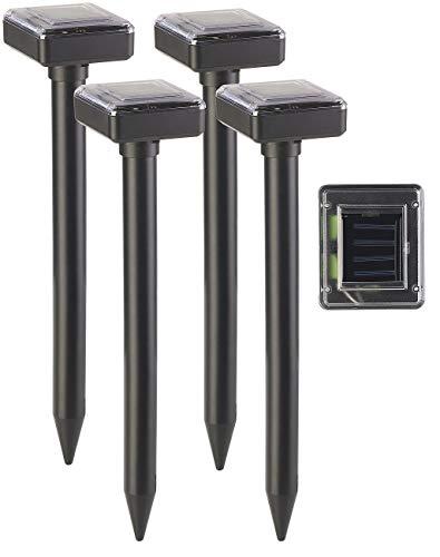 Royal Gardineer Wühlmausschreck: 4er-Set Umweltfreundlicher Solar-Maulwurffrei mit Akku, 400 Hz, IP44 (Mausvertreiber)