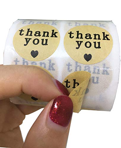 Natural Paper Kraft Thank You Sticker Labels with Black Hearts, 1 Inch Round, 1000 Stickers per Roll