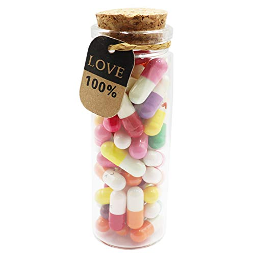 Mczxon Capsule Letters Message in a Glass Bottles, 50Pcs Cute Smiling Face Love Friendship Letter...