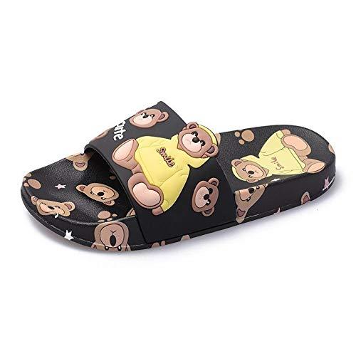 Sandalias Deslizantes Unisex,Zapatillas de Dibujos Animados para Mujeres en el Exterior, Sandalias y Zapatillas de Interior para el baño en casa-Black_39,Chanclas para Hombre