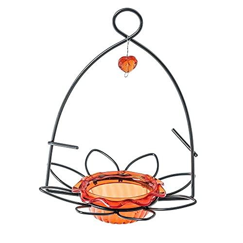 Birds Choice Off Oriole Flower-Shaped Feeder w/Heart Ornament, Oriole Nectar & Jelly Feeder, 3oz Capacity, Orange