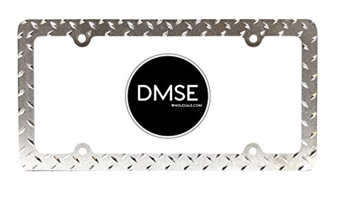DMSE Heavy Duty Metal Diamond Plate Plated License Plate Frame Cool Decorative Design For Any Vehicle (Chrome)