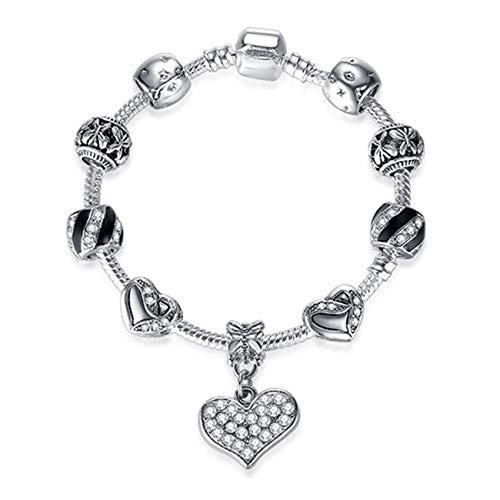 Pulseras Heart Charms Beads Fit Original Silver Bracelet Crystal Beads Bracelets & Bangles For Women Fashion Jewelry PS3839 Length 18cm