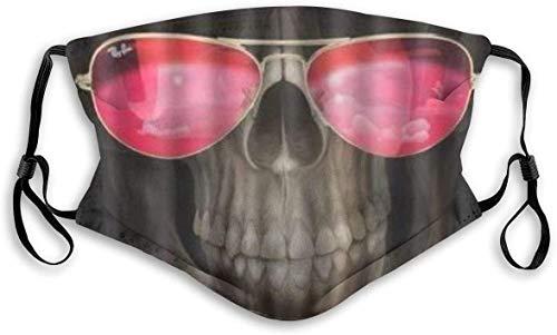 Keyboard cover Mundschutz Gesichtsschutz Halloween Funny Grim Reaper with Cool Red Glass Mundschutz mit Filter Waschbar Atmungsaktive Staubdicht Schutz Bandana