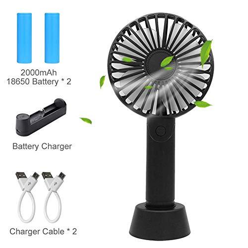 Mini Ventilador USB Portátil - Ventilador de Mano, Aromaterapia Ventilador con 2x 2000mAh Batería Recargable y Cargador para Escritorio Automóvil Hogar Oficina Viajes Camping - (3 Velocidades) Negro