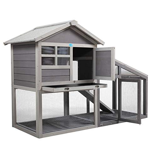 COZIWOW Indoor Outdoor Rabbit Hutch,Small Animal Houses & Habitats,Rolling Large Bunny Cage with Removable Tray, Two Story Guinea Pig Hamster Chicken Coop
