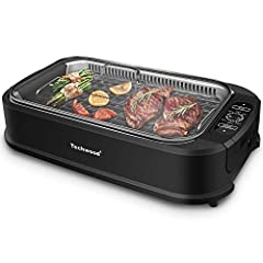 [♨ Heats up Quickly & Precise Control] - Techwood smokeless grill with a LED accurate digital temperature control, allow you getting the cooking temperature correct from 220° F to 450° F. Maintains that constant temperature throughout the entire cook...
