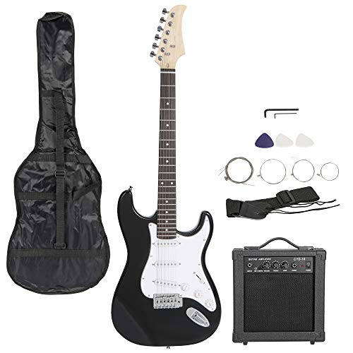 Smartxchoices 39' Full Size Black Electric Guitar with 10W Amp,Gig Bag Case Guitar Strap Package for Beginner Starter (Black)