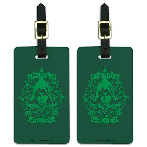 Arrow TV Series Emerald Archer Luggage ID Tags Carry-On Cards - Set of 2