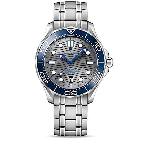 Pagani Design 007 Seamaster - Reloj de buceo automático para hombre, correa de acero inoxidable, bisel de cerámica, espejo curvo de zafiro, resistente al agua, 1685 gris acero, Pulsera