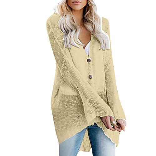 TUDUZ Damen Strickjacke Feinstrick Kimono Cardigan Strickcardigan mit Offenem V-Ausschnitt Outwear...