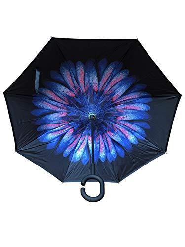 Innovativer Regenschirm, Umgekehrter Regenschirm, Reverse Umbrella, Inverted Umbrella, Geschenk (Blume Blau/Rosa)