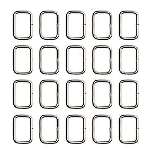 Shapenty 20MM / 3/4Inch Rectangle Bag Purse Snap Hook Metal Loop Rings Webbing Belts Buckle for Handbag Strap DIY Accessories and Bag Making Repairing, 20PCS