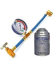 エアコン ガスチャージホース(60CM) メーター付 R134a とカーエアコン用冷媒 HFC-134a セット 日本語説明書付き (ガスチャージホース+冷媒ガス缶1本セット)