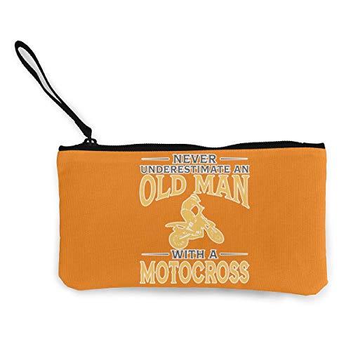 SDFGJ Never Underestimate an Old Man with A Motocross Canvas Coin Coin Purse Cute Wristlet Wallet Money Coin Bag Cellphone Bag with Zipper