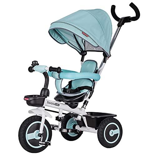 BSWL 4-En-1 Triciclo para Niños, Asiento De Dirección Bilateral, Bicicleta para Niños Y Cochecito, Adecuado para Niños De 1 A 6 Años,Verde