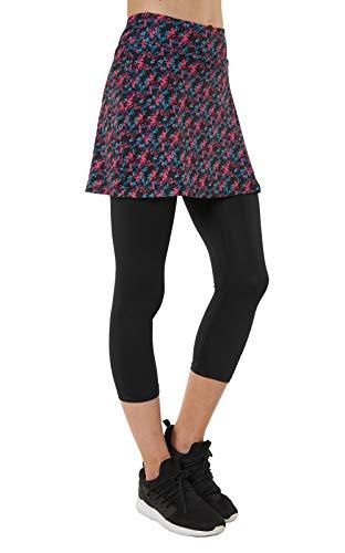 Slimour Damen Capri-Leggings mit Rock, Caprihose, Skapri - mehrfarbig - Mittel