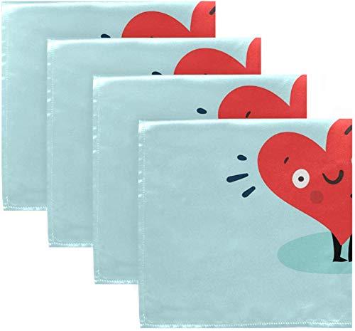 Set di 4 cuori rossi tenere bandiera arcobaleno per San Valentino amore gay sul cielo blu nuvola bianca tovaglioli di stoffa tovaglioli in poliestere lavabile 20 'x 20' per tavolo da pranzo festa