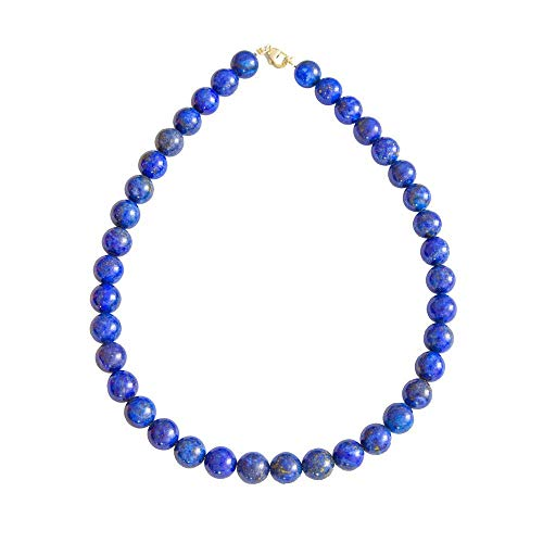 France Minéraux Lapis Lazuli Necklace with Ball Stones 12 mm Blue