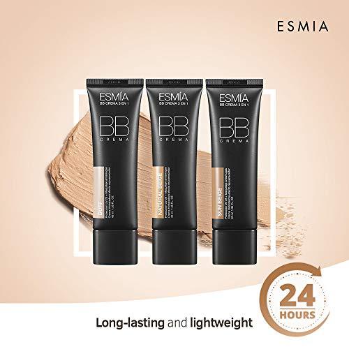 ESMIA BB Cream, SPF38/PA +++, Lightweight, Hydrating Tinted Moisturizing BB Cream for All Skin Types, Multi-Function Anti-Aging Makeup Foundation for Light to Dark Skin Tones (Buff #25)