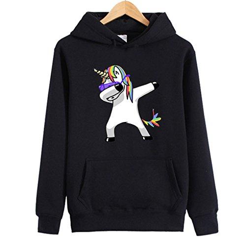 BienBien Sweatshirt à Capuche Licorne Femme Ado Imprimé Lâche Manches Longues Pullover Unicorn Hoodie Hip Hop Manteau Pull a Oreille Automne Hiver Overize Tops Veste