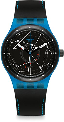 Swatch Orologio Digitale Automatico Uomo con Cinturino in Pelle SUTS401