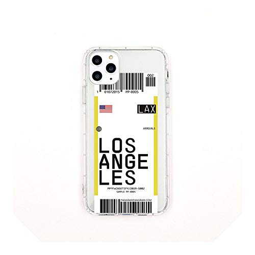 New York Seoul London Fashion Label Barcode Cover für Samsung S10 5G Plus S9 S8 Note 10 3D Clear Air Tickets City Cover - Losangeles - für Samsung S10
