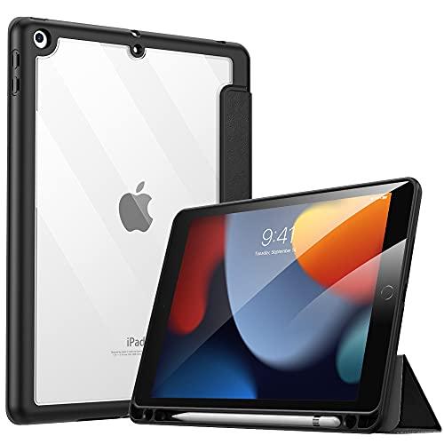 MoKo Hülle Kompatibel mit Neu iPad 9. Generation 2021/iPad 8. Gen. 2020/iPad 7. Gen. 2019 mit Apple Pencil Stifthalter, iPad 10,2 2021 Schutzhülle Transluzent Rücken Auto Schlaf/Aufwach, Schwarz